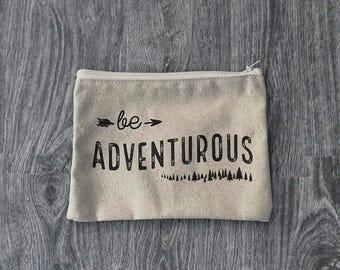 Be Adventurous - Zipper Pouch  - Wanderlust - 12oz Cotton Canvas Accessory Bag