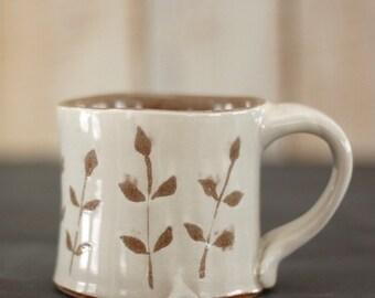 mug for coffee or tea - 12 oz – vines design - white + brown glaze - stoneware pottery - READY TO SHIP