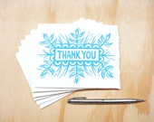 Blue Thank You Cards - Set of 6 Block Printed Cardsl - READY TO SHIP