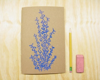 Sketchbook Journal Eucalyptus - Purple Blue Plant - Idea Book - Block Printed - Hand Bound
