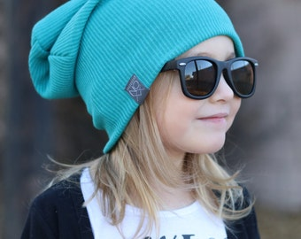 Slouchy Beanie / Teal Rib Knit / Baby Slouchy Hat / Sweater Knit Winter Hat