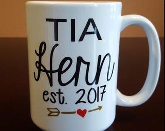 Tia, Titia, Aunt or Auntie Coffee Mug. Pregnancy Announcement!!