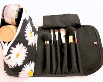 Large Floral Makeup Bag with a Brush Holder Flap and snap button.