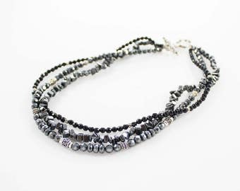 Vintage 925 Silver Gray Black Faceted Stones Moonstone Beaded Necklace