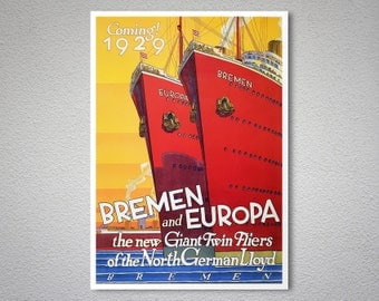 Bremen and Europa  Vintage Travel Poster - Poster Print, Sticker or Canvas Print