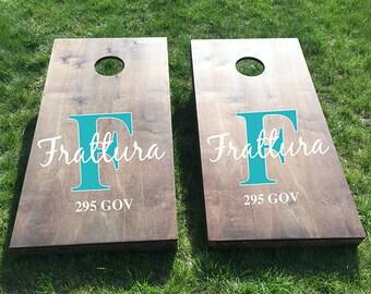 Custom Wedding Cornhole Boards - Custom Last Name Monogram