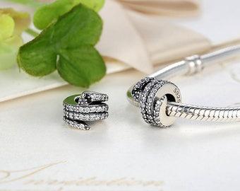 925 Sterling Silver Sparkling Snake, Clear CZ & Black Crystal Charms Fit Bracelet Necklace