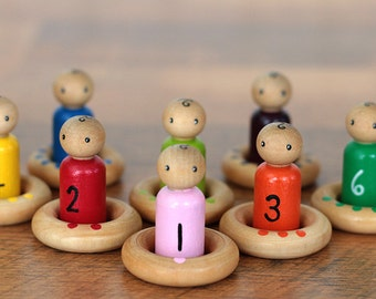 Counting Toy, Waldorf Toy, Peg Doll Matching Game, Montessori Educational Toy, Wooden Toys, Natural Toys, Homeschool Tools, Hand painted toy