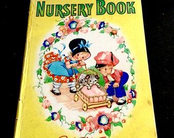 Vintage Nursery Book,  Ruth E Newton, Children's Nursery Rhymes, Hardcover, Large 8 x 11 inches, Whitman Publishing, No. 5064, Circa 1940s
