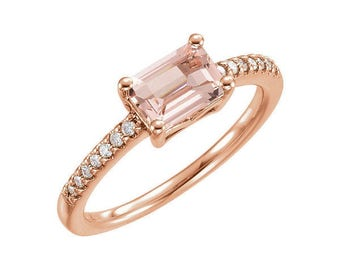 1.05 Carat Natural Genuine Morganite and Diamond Ring in 14K Rose Gold