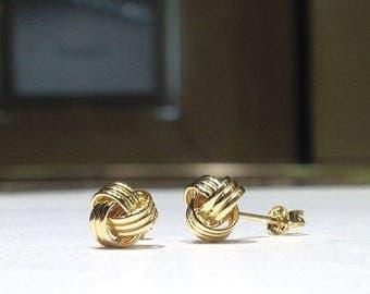 GENUINE 14K Gold 8mm Love Knot Stud Earrings