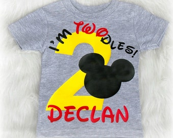 I'm twodles Second birthday shirt for boys - I'm Twodles - grey birthday shirt - Mickey mouse birthday shirt - Mickey mouse birthday party