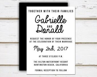 Printable Wedding Invitation, Simple Wedding, Black and White, Minimal, Plain, Typography, Modern, Cursive, Informal, Casual, MB176