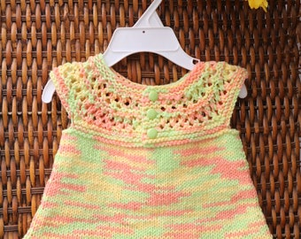 Baby girl cotton dress, infant yellow, orange, green baby knitwear, spring and summer knitwear, little girl jumper, knit tunic