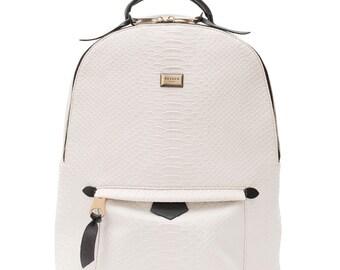 Snakeskin backpack white