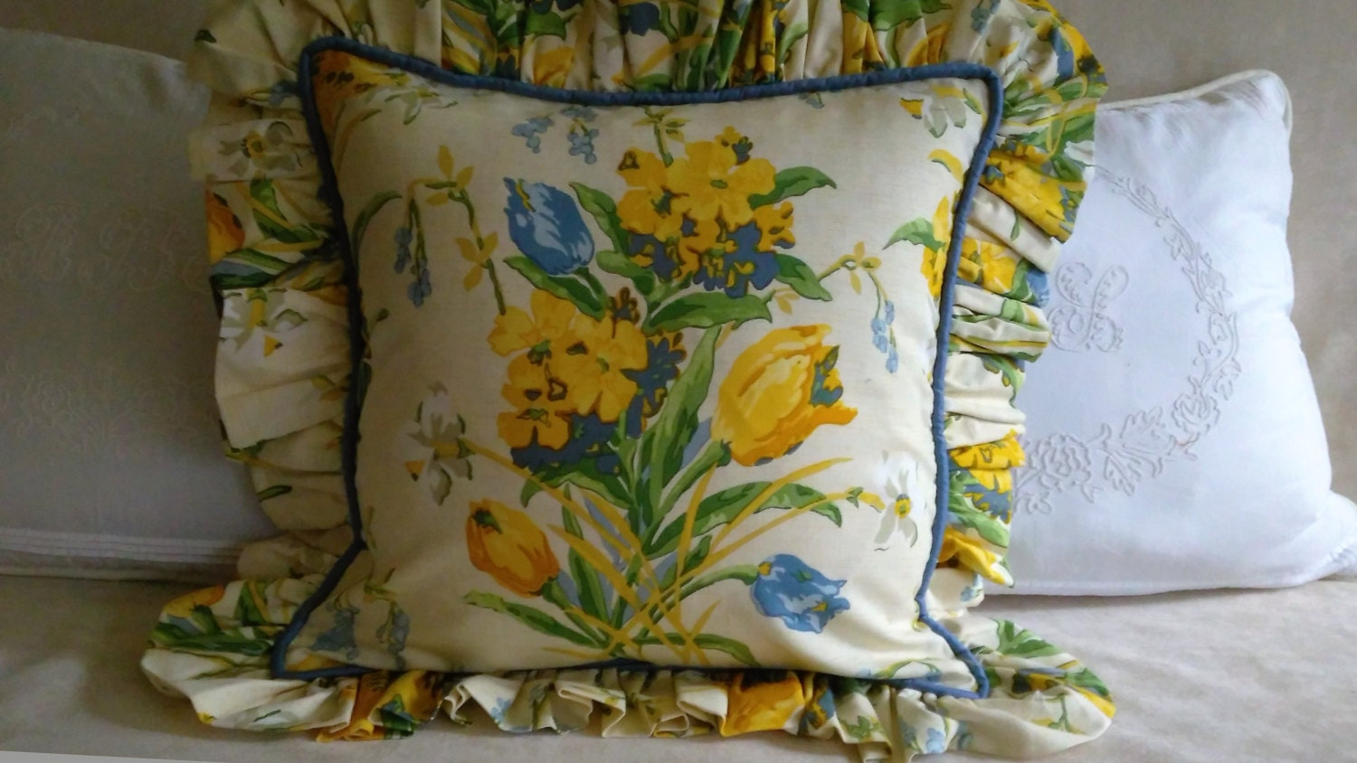 Blue Yellow Green Ivory Floral Ruffled Pillow Cover ON SALE