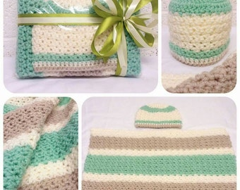 Hand crochet Baby Chunky blanket & hat set ( up to 6 months )