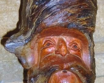 Vintage Handcarved Wood Gnome/ Signed Wells