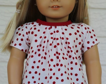 Spotty Top, to fit like American Girl Doll Clothes