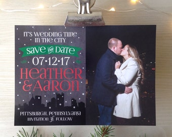 Wedding Time in the City Save the Date • City Skyline • Choose your City Skyline • Holiday Save the Date • Christmas Save the Dates • City