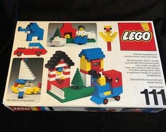 Vintage Lego Set 111 Building Blocks 1976 basic original with instructions building toy