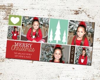 SALE 50% OFF Printable Custom Merry Christmas Juxtaposed Photo Christmas Card
