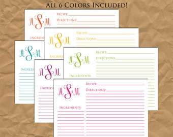 SALE 25% OFF Custom Rainbow Monogram Recipe Cards - All 6 Colors Included