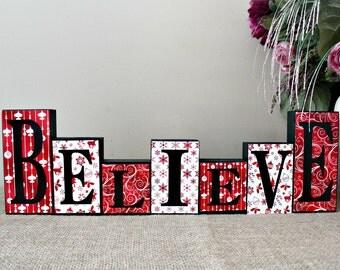 Believe Sign, Holiday Decor, Believe Wood Blocks, Christmas Decor, Christmas Blocks, Mantle Decoration, Reversible Blocks, Double Side Block