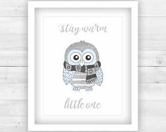 Boy Nursery Decor Poster Print Digital - winter owl