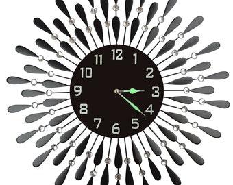 Black Drop Wall Clock, Decorative Metal Wall Clock with Black Glass Dial in Arabic Numerals[Blk Drop 54ND]