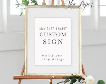 Custom Party Sign - 5x7, 8x10, 11x14, 11x17, 16x20, 18x24 - Printed Or Digital - Made To Match Any Design In The Shop! Sea Paper Designs