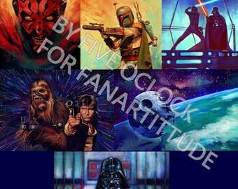 Post fan - art star wars geek sf boba fet Vader han solo, Chewbacca skywalker