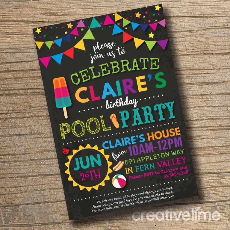 pool party birthday bash invitation end of school bash. Black Bedroom Furniture Sets. Home Design Ideas