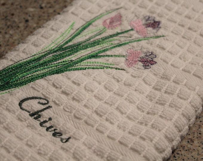Kitchen towel. Herbs. Kitchen Herbs. Housewarming Gift, Embroidered Towel