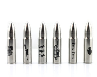 Military Engraved Whiskey Bullet Beverage Chiller