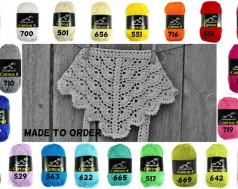 Crochet lace head scarf, Cotton hair kerchief, summer accessories for girls, fits many sizes, made to order, pick a color