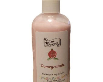 Yogurt Lotion - Pomegranate Scented - Body lotion, hand lotion, pomegranate lotion