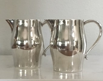 """Creamer Pitchers WM A Rogers Silverplate Pair of Two 3 3/4"""""""
