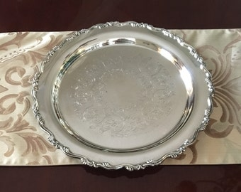 """Silverplated  Tray Round 15"""" Wm A Rogers Vintage"""