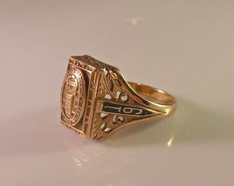10K Enamel Filigree Class Ring, 1942 Central High School Muskogee Oklahoma