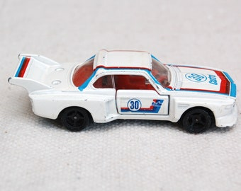 Vintage Tomica No.F30 BMW 3.5 CSL, 1977, made in Japan, by Tomy, Miniature Die-cast Toy Car, Castrol Race Car