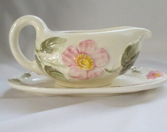 Vintage Gravy Boat & Saucer or Underplate ~ Pink Dogwood Flower Pattern ~ Made in Brazil