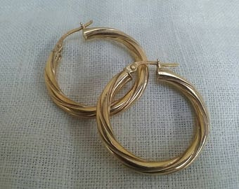 Vintage 9ct Gold Hoop Earring Large Twist Real Yellow Gold Ladie Hoops & 9ct Gold Hoop Earrings Ladies Tear Drop Triple hoop RESERVED CECELE