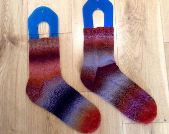 Hand knit crazy socks