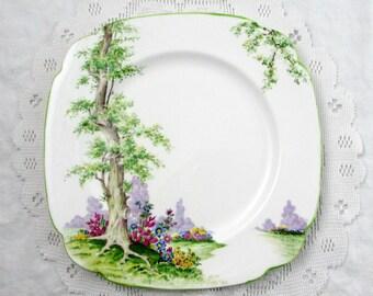 "Royal Albert ""Greenwood Tree"" Dinner Plate, 9.5 Inches, Vintage Royal Albert, Green Trim"