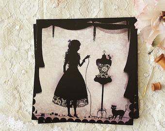 Postcard - Illustrated postcard - Silhouette - needlewoman - dress making dummy - Seamstress