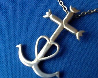 Sterling Silver Faith, Hope and Charity Carmargue Cross