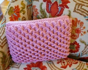 Handmade Crocheted Soft  Pink Throw Pillow