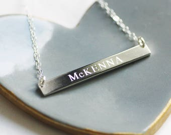 FREE SHIPPING - Personalized Silver Bar Necklace - Engraved Necklace - Sterling Silver Bar Necklace