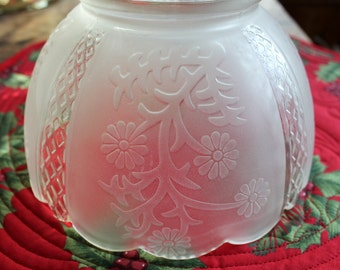Antique Glass Globe Lamp Shade, Embossed Floral and Pressed Glass Designs, Clear and Frosted Shade